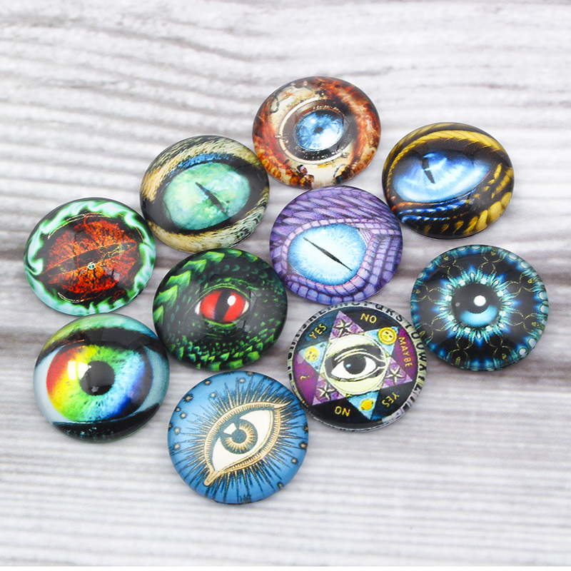 Mixed Dragon Animal Eyes Photo Round Glass Dome Cabochon 8mm 10mm 12mm 14mm 16mm 18mm 20mm 25mm 30mm Flat Back DIY Accessories