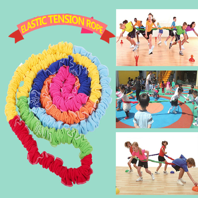 Team Cooperation Work Develop Outdoor Sport Toy Elastic Fleece Stretchy Band Integrations Dynamic Movement Exercise For Children