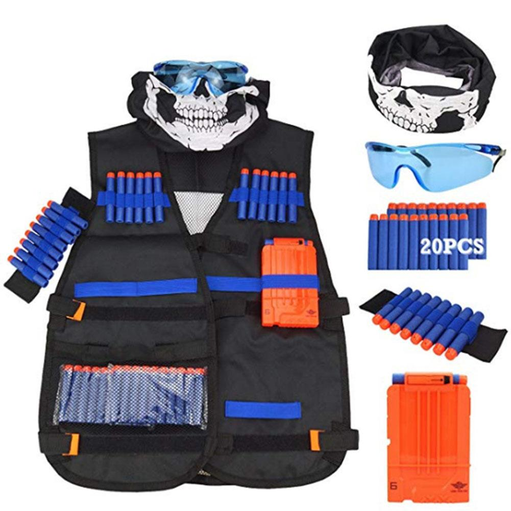Outdoor Children Kids Tactical Vest Kits With Glasses Quick Reload Clips Wristbands Masks Refill Darts For Shooting Game Toy