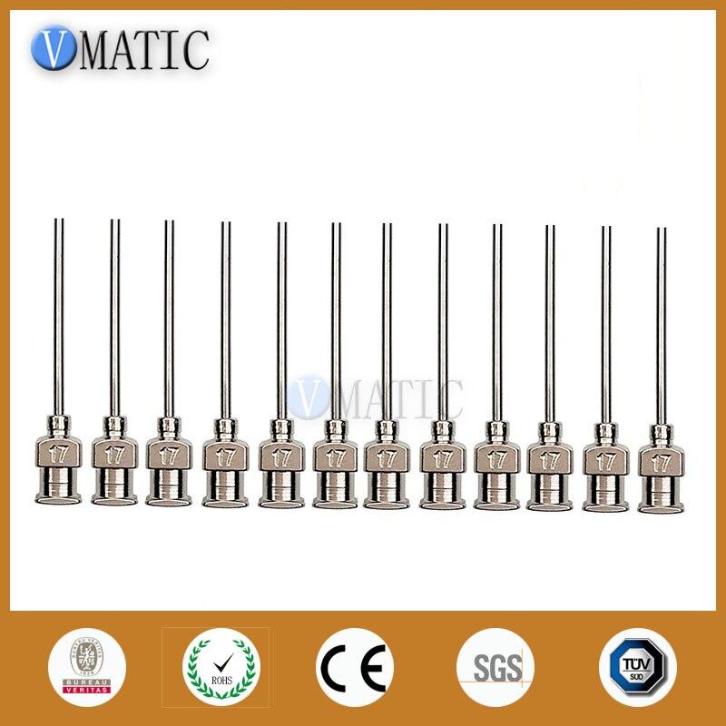 Livraison gratuite 12 pièces 1 pouce aiguille pointe longueur 17G émoussé en acier inoxydable distribution seringue aiguille pointe distributeur de colle aiguille