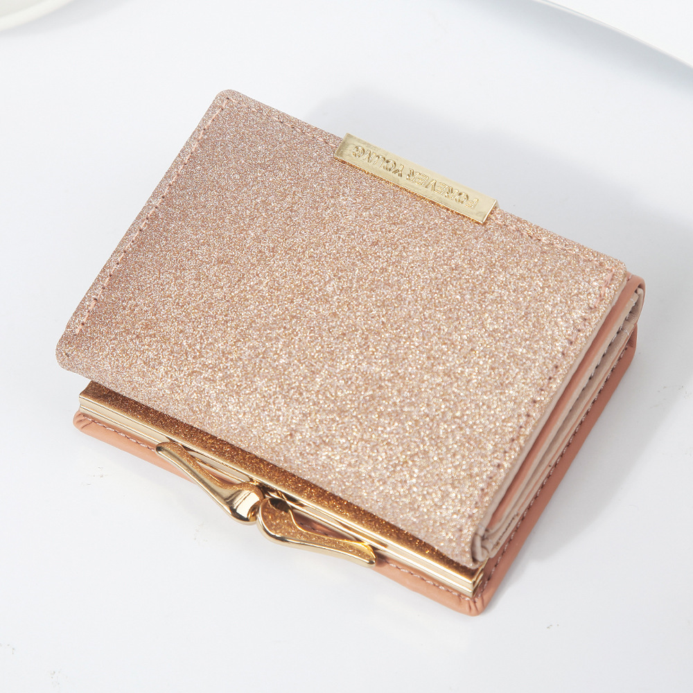 2020 New Women Shiny Wallet Three Fold Wallets Ladies Coin Pocket Women's Purse Simple Sequin Clutch Credit Card Money Bag