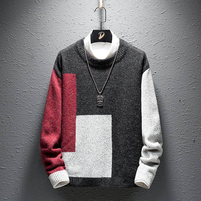 2019 Men's New Winter College Wind Teenagers Sweater Color Matching Fashionable Recreational Sweater