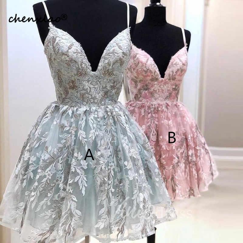 Vestidos Rosa Curto do Regresso A Casa Vestido de UMA Linha de Cintas de Espaguete Luz do Céu Azul Vestido Homecoming Vestidos de Formatura