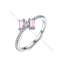 Изящное розовое кольцо с сапфирами, кольцо с покрытием из белого золота, прямоугольное, розовое, CZ, нежное кольцо, минималистичное, обещающе...