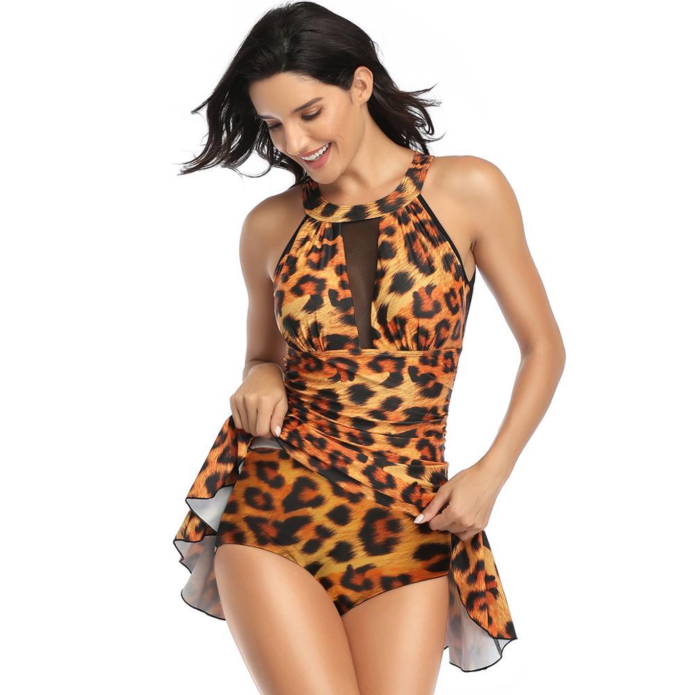 Сдельный купальник 2020, круглый вырез, сексуальный женский леопардовый купальник, пуш-ап, монокини, газовая юбка, тип купального костюма, пля...