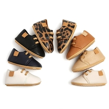 Toddler Shoes Prewalkers Rubber Baby Moccasins Anti-Slip Infant Girls Boys Sole Leopard