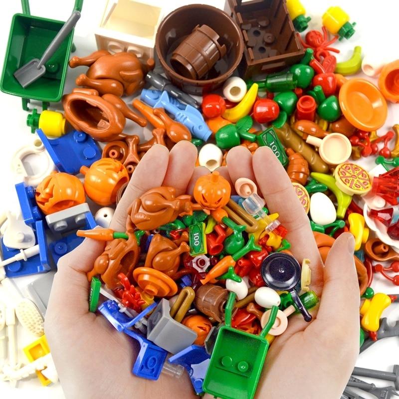 100pcs DIY Building Blocks Food Fish Fruit Chicken Hot Dog Coins Toy MOC Parts City Accessories Bricks Compatible LegoINGlys