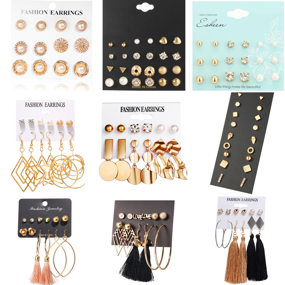 Earring-Set Stud Square Crystal Heart Hot-Sale Fashion Women's Classic for Modern Jewelry