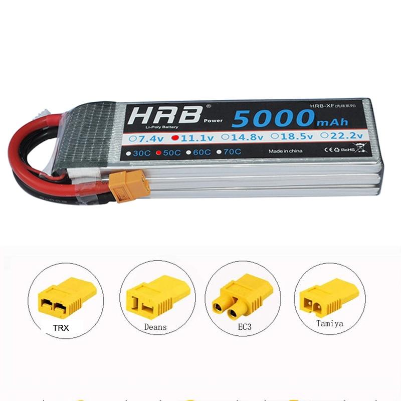 HRB 3s lipo батарея 11,1 v 5000 мА/ч, 50C xt60 разъем для Traxxas осевой радиоуправляемая автомодель трагги гонки баки самолета RC дроны Вертолет Лодка - Цвет: XT60 with adapter