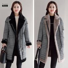 Faux Fur Wool Blend Coat Women Mid- long Coats Turn-down Col