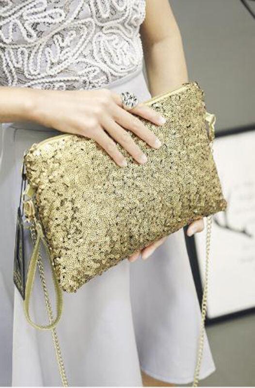 New Ladies Designer Sequins Evening Bag Clutch Purse Chain Handbag Shoulder Bag Party Evening Envelope Clutch Bag Wallet Purse