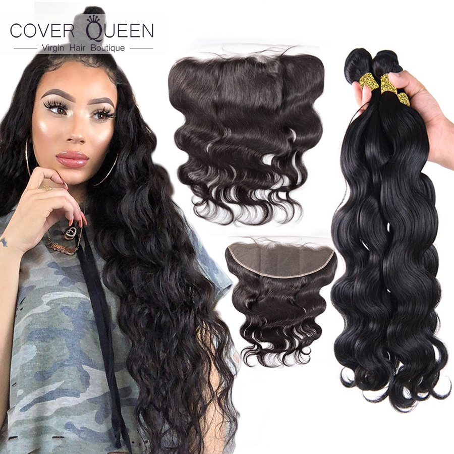 Body Wave 28 30 32 34 36 38 40 Inch Brazilian Hair Weave Bundles With Frontal 13x4 Remy Human Hair Bundle With Lace Closure