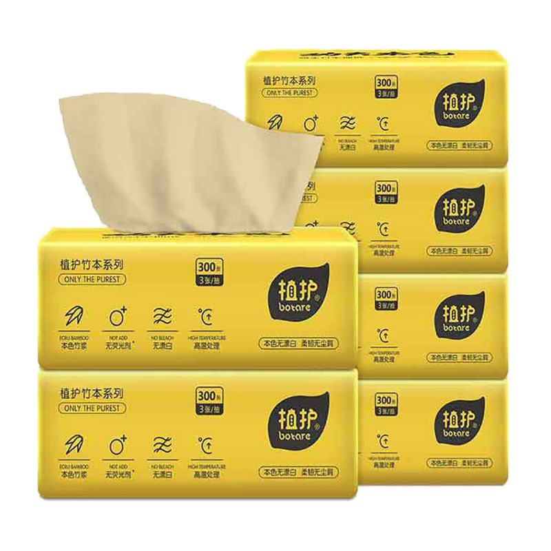 New Arrival Plant Protection Natural Color Pumping Paper 6 Packs / Lifting 100 Pumping 3 Layers Of Paper Towels