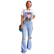 2019 new women hole high waist  flare jeans wide leg white High elasticity mom fashion long denim pants summer trouser