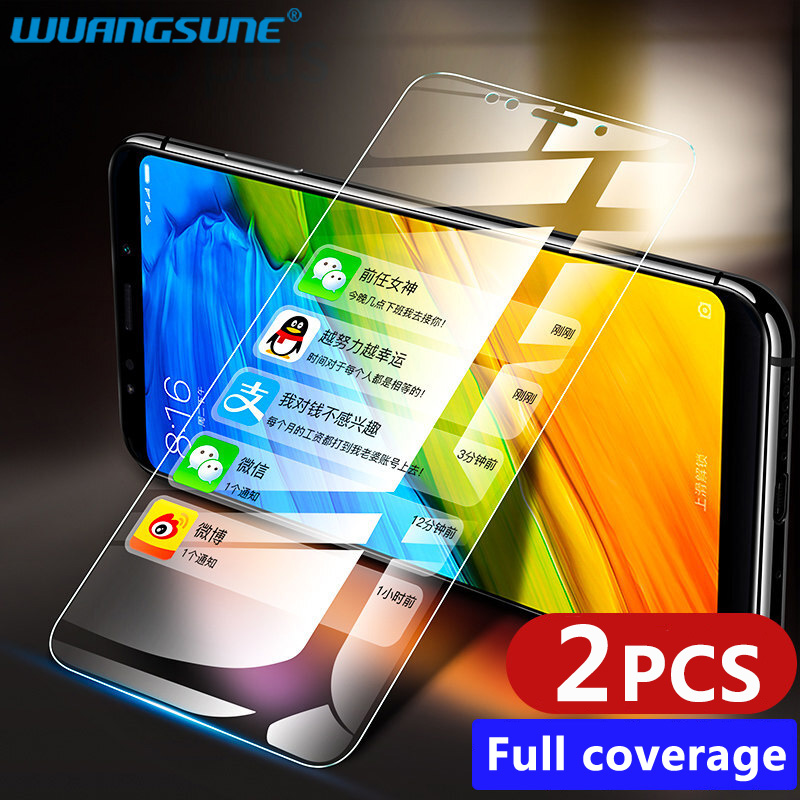2PCS For Xiaomi Redmi Note 7 6 5 A1Full Cover Screen Protector Tempered Glass For Redmi 7 Pro 6A 5A 5 Plus Protective Glass Film