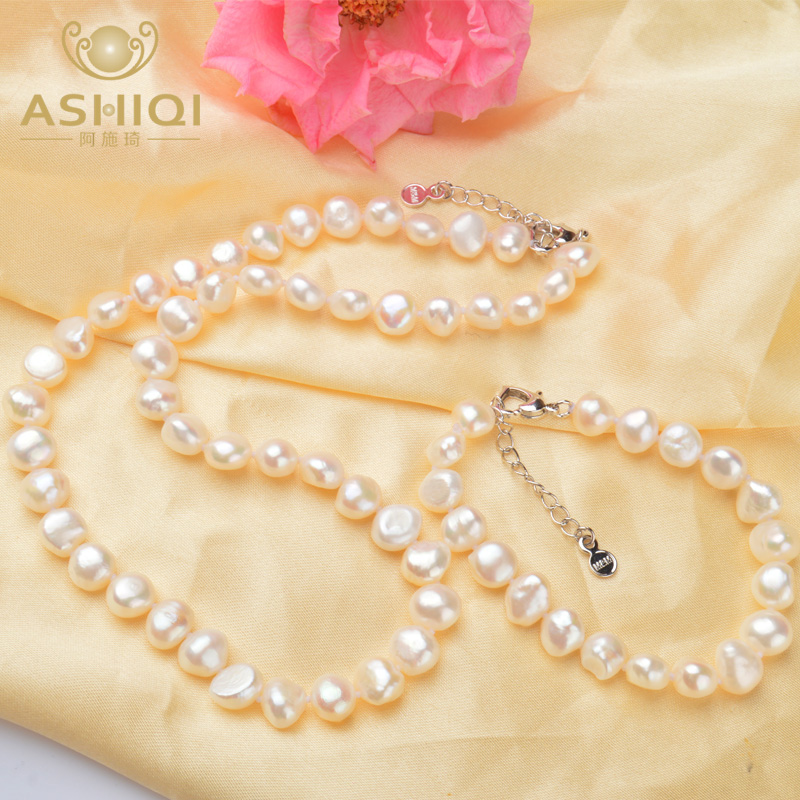 ASHIQI White 9-10mm Natural Baroque pearl Jewelry Sets Real Freshwater pearl Necklace Handmade Bracelet for women New Arrivals
