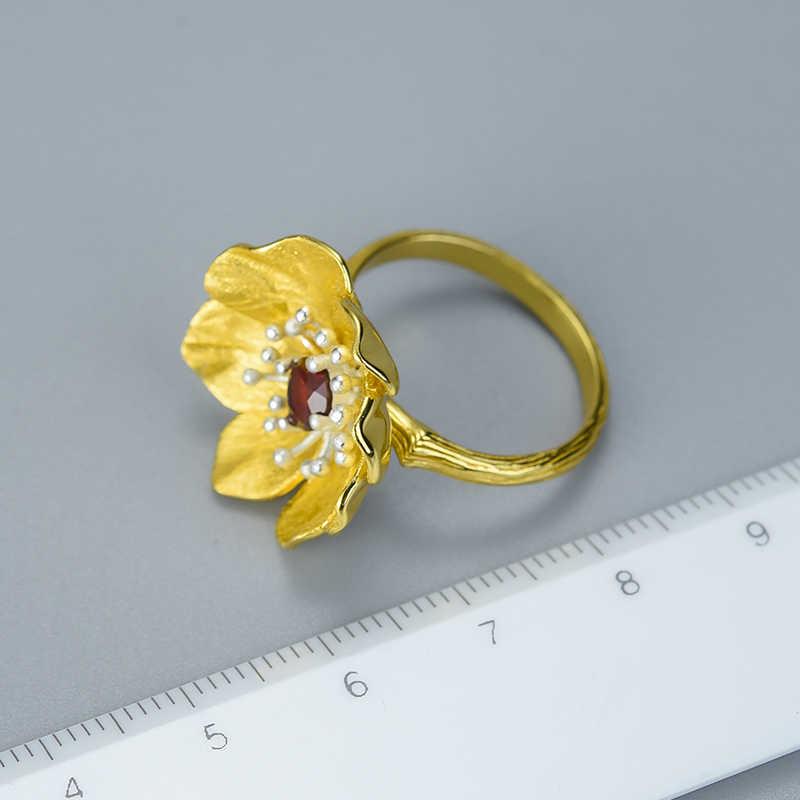 LotusสนุกMomentจริง 925 เงินสเตอร์ลิงหินธรรมชาติHandmade Designerเครื่องประดับBlooming Anemoneดอกไม้แหวนผู้หญิง