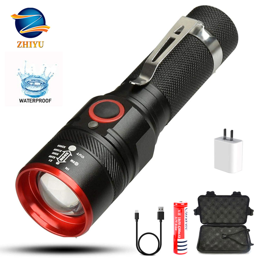 LED Rechargeable Flashlight ZHIYU Mini XML-T6 Flashlight Zoomable 3modes For 18650 With USB Cable Camping/Camping/Hunting/Biking