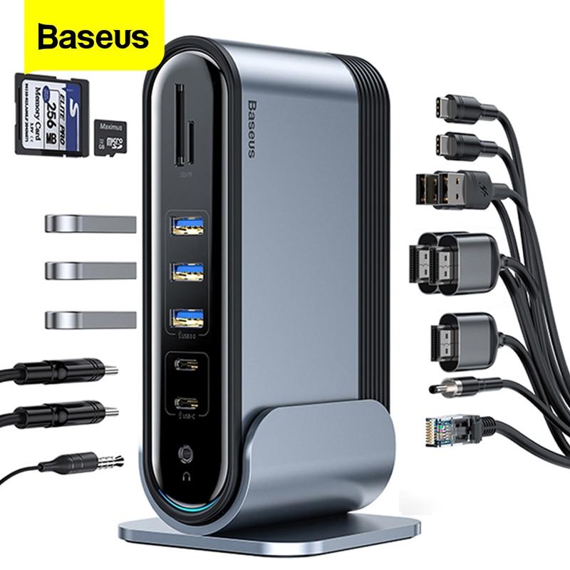 Baseus 17 In 1 USB C HUB Type C To Multi HDMI RJ45 VGA USB 3.0 2.0 With Power Adapter Docking Station For MacBook Pro USB-C Hub