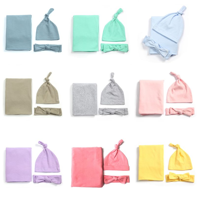 3 Pcs/set Cotton Baby Blanket Hat Headband Set Newborn Swaddle Towel Hair Band