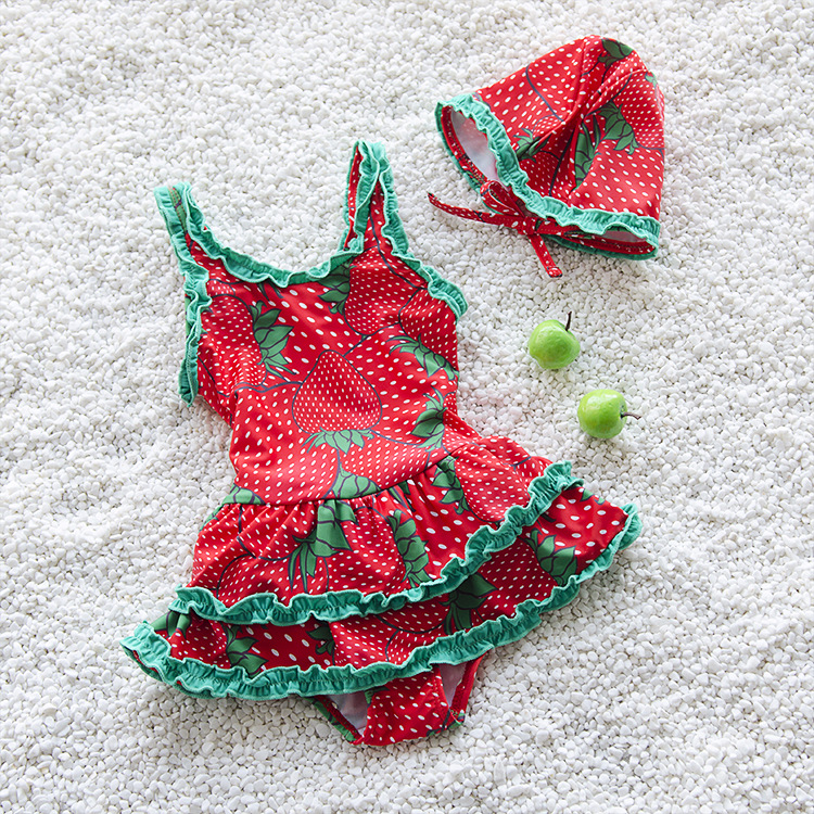 New Style Girls Swimwear CHILDREN'S Swimsuit One-piece Two-Piece Set Fruit Pattern Skirt With Swim Cap GIRL'S Swimsuit