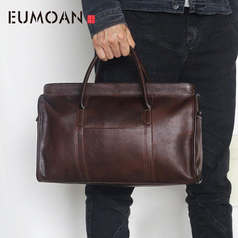 EUMOAN Новинка 2018, первый слой кожаных сумок, ручная натертая наплечная сумка мессенджер, ретро ностальгическая дорожная кожаная сумка
