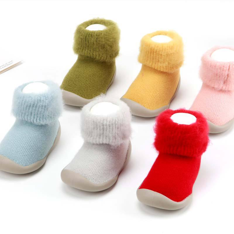 New Baby Floor Non-slip Baby Toddler Shoes Rubber Bottom Baby Floor Shoes Autumn Winter Plus Velvet Thickening Shoes
