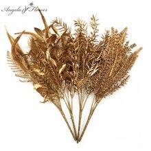 Fleurs artificielles de noël en plastique doré et argenté, Bouquet de fleurs pour la maison, accessoires de décoration murale pour mariage, accessoires Photo