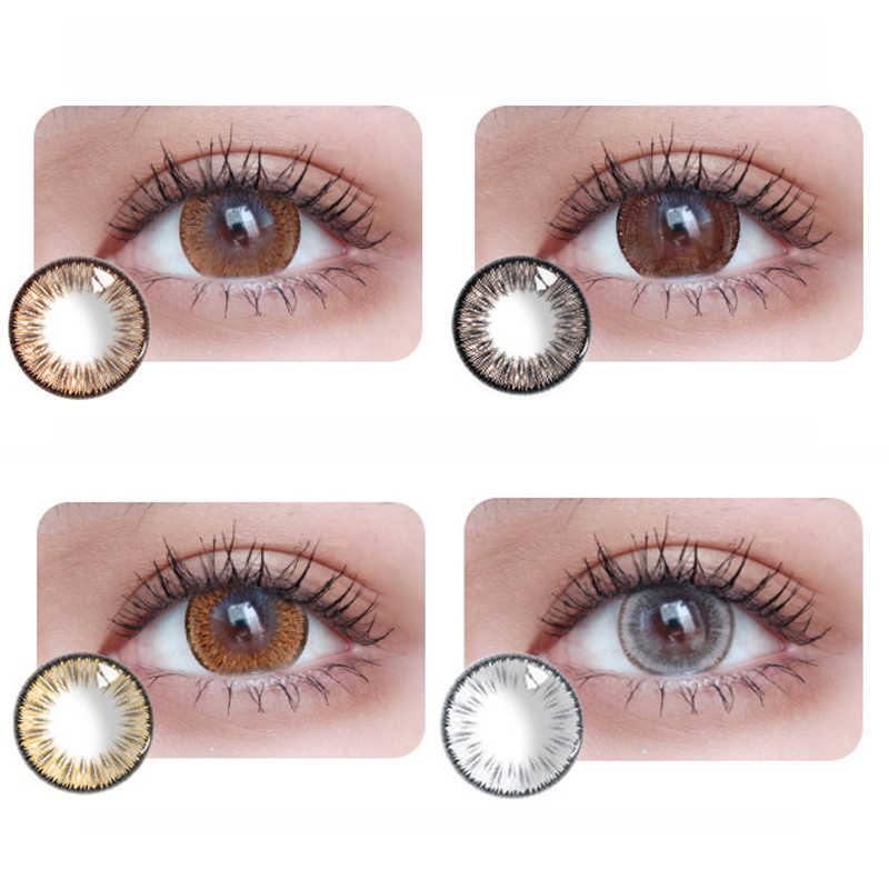 2 sztuk/1Pair kolorowe kontakty lato fluorescencyjne piękne soczewki uczeń dla Party kosmetyki do makijażu oczu DIA 14.5mm