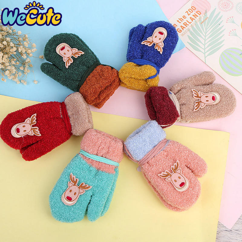 Tatuo 3 Pairs Full Finger Kids Gloves Winter Warm Knitted Mittens Plush Thicken Christmas Gloves for Infant Boys Girls Color Set 3