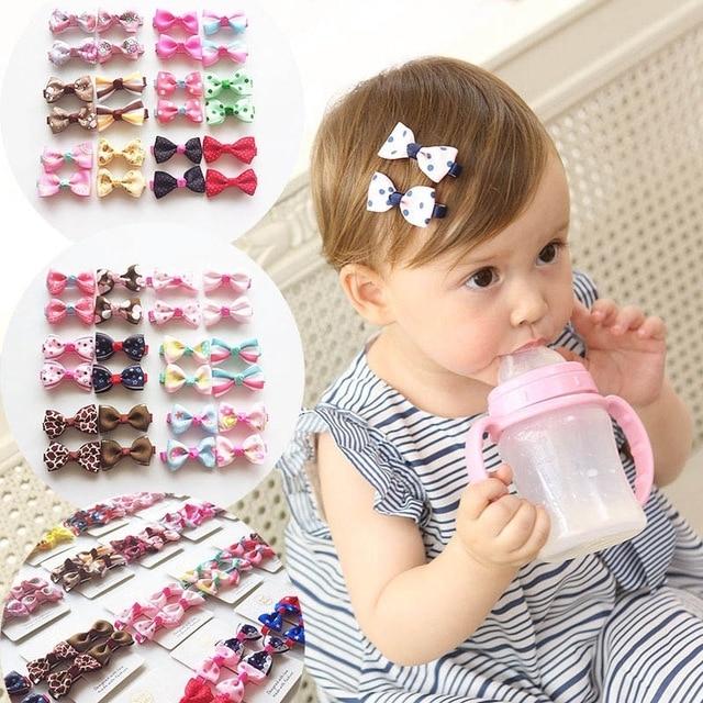 10Pcs Kids Baby Girl's Ribbon Hair Bow Mini Latch Clips Hair Clip Hairpin  for Children Girls Kids Hair Accessories 1