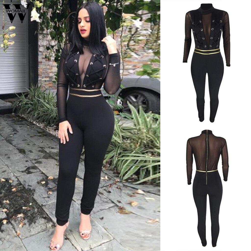 Womail Jumpsuit Women New Summer Black Sexy Bodycon Romper Lace Long Sleeve Jumpsuit Elegant Mesh Splicing Long Jumpsuit Club