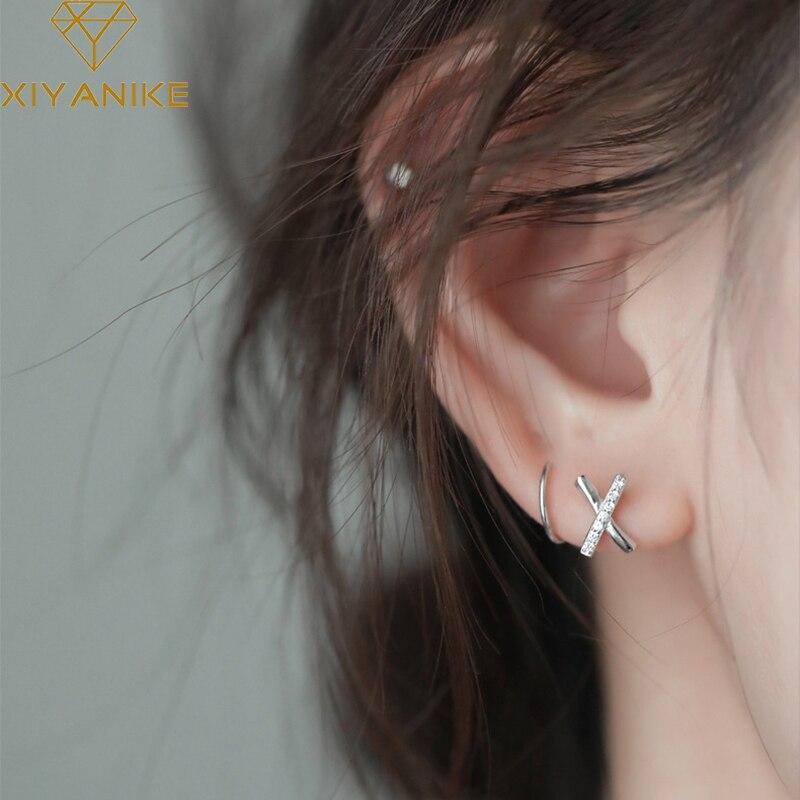 XIYANIKE 925 Sterling Silber Koreanische X-förmigen Quer Zirkon Strass Ohrringe Weiblichen Einfache Mode Handemade Ohr Schmuck Mädchen