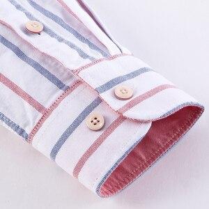 Image 3 - גברים מקרית 100% כותנה אוקספורד פסים חולצה אחת תיקון כיס ארוך שרוול סטנדרטי נוחה עבה כפתור למטה חולצות