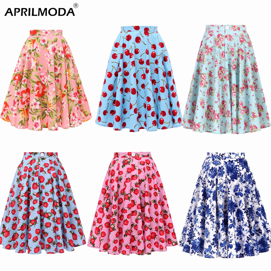 Autumn High Waist Skirts Cotton Womens Polka Dot Print Retro Vinatge Swing Pinup Skirt Rockabilly 50s Retro Vintage Jupe Femme