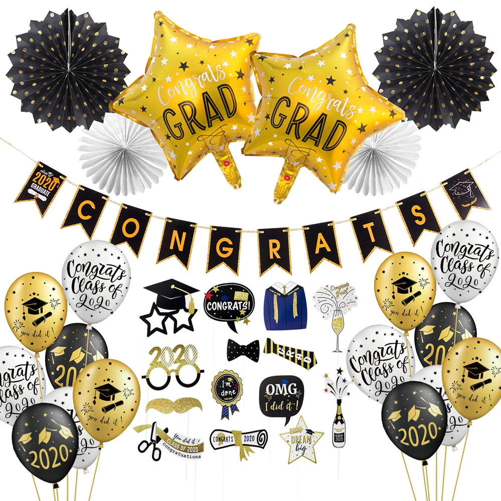 Graduation Photo Booth Props Graduation 2020 Party Decorations Congrats Grad Banner Graduation Balloons Class Of 2020