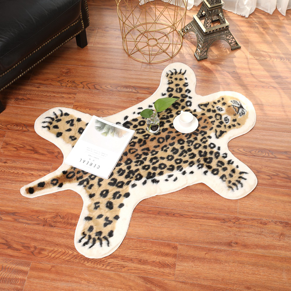 80x105CM Tiger Printed Rug Cow Leopard Tiger Printed Cowhide Faux Skin Leather NonSlip Antiskid Mat Animal Print Carpet