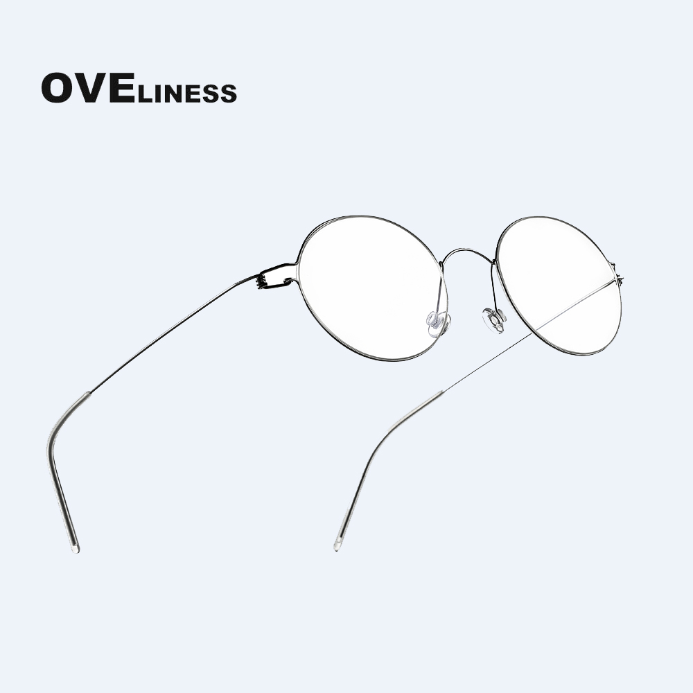 Titanium Screwless Eyewear Prescription Retro Eyeglasses Frame Women Round Myopia Optical Korean Spectacles Glasses Frame Men