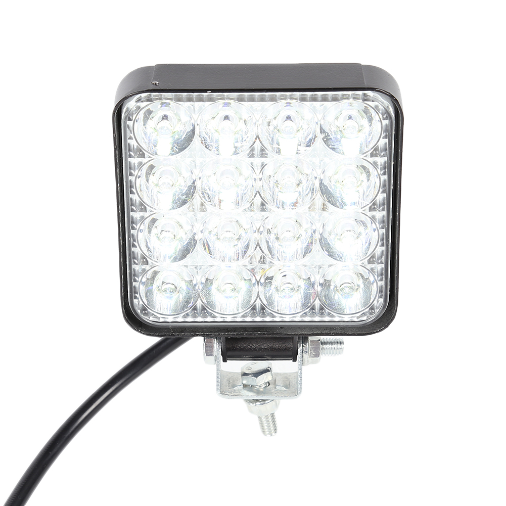 16LEDs Car Work Light 48W 2880LM 6500K IP67 Waterproof Dustproof Shockproof Square Auto Truck Mini Spotlight White Fog Lamp
