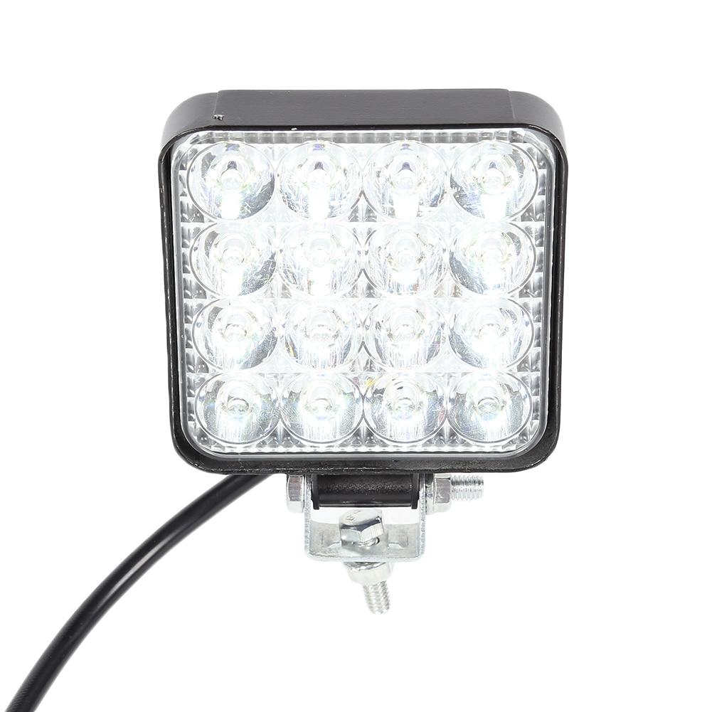 16LEDs Car Work Light 48W 2880LM 6500K IP67 Waterproof Dustproof Shockproof Square Auto Truck Mini Spotlight White Fog Lamp