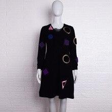 Korean Version of Clothing Geometric Pattern Velvet Dress Women 2019 Fashion Black