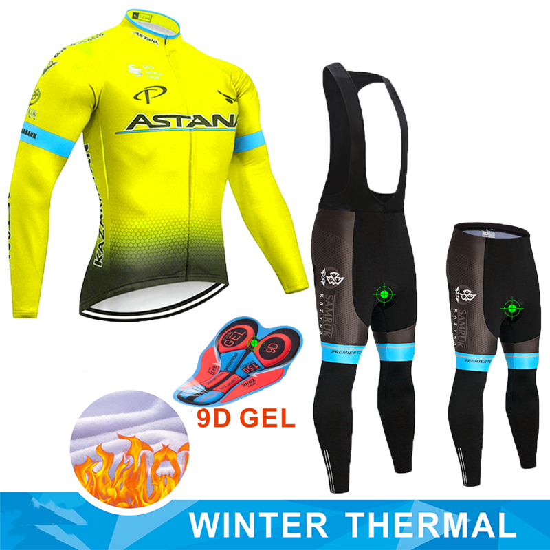 Fluorescent yellow ASTANA TEAM winter thermal fleece Cycling JERSEY Bike Pants set mens Ropa Ciclismo 9D bicycling Maillot