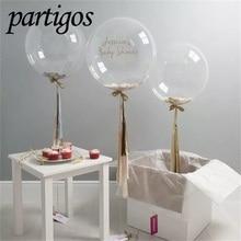 100ピース/ロット10/18/24インチ透明バブル風船pvcスーパークリアヘリウムボボライトグロボス誕生日ウェディングパーティーの装飾ギフト