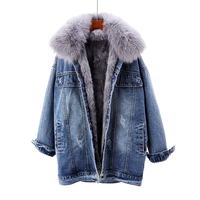 2020 Winter Denim Jacket Women Rabbit Fur Liner Jeans Jacket Fox Fur Collar Outwear Vintage Plus size Loose Thick Warm Jean Coat