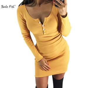 Spring Autumn Bodycon Dress Sex Party Wear Skinny Button Women Dress Kawaii Knitted Pencil Dress Button Hip Overall Outfit M0047(China)