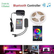 2sets in 1 Pack RGB LED Strip Light 5M SMD3528 5050 Ribbon LED Tape With Remote & Bluetooth Controller For Home Decor Lighting