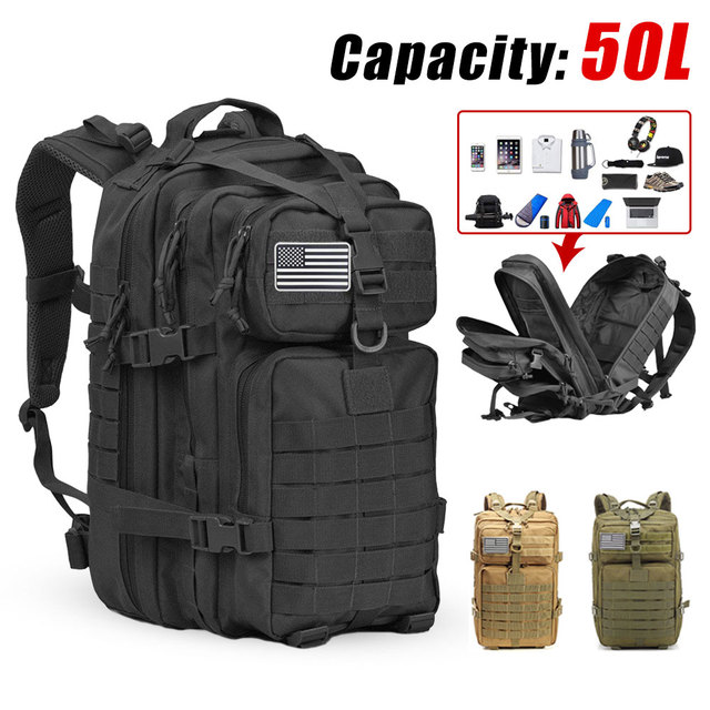 50L Men Army Mochila Militar 3P Softback Capacity Tactical Backpack Outdoor Waterproof Rucksack Sport Hiking Camping Hunting Bag