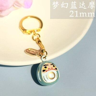 Japanese Keychain Charm Bell Netsuke Gold Daruma Rich Good Wealth Made in Japan
