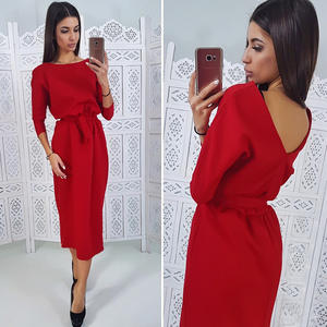 Midi Dress Spring Office-Work Casual O-Neck Long-Sleeve Elegant Women Ladies Straight