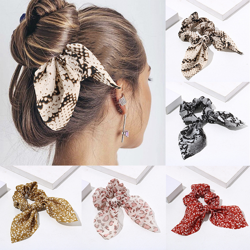 Women Streamers Leopard Print Polka Dot Floral Print Elastic Bow Hair Rope Girl Hair Ties Korean Sweet Hair Accessories Headwear